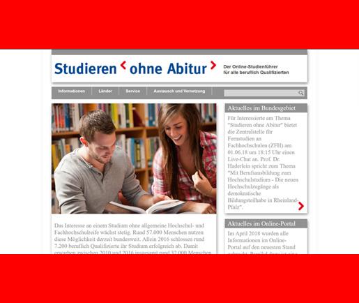 """Online-Studienführer """"Studieren ohne Abitur"""""""